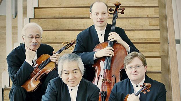 Das Tokyo String Quartet in seiner aktuellen und letzten Besetzung: Martin Beaver und Kikuei Ikeda, Violinen, Kazuhide Isomura, Viola und Clive Greensmith, Violoncello.
