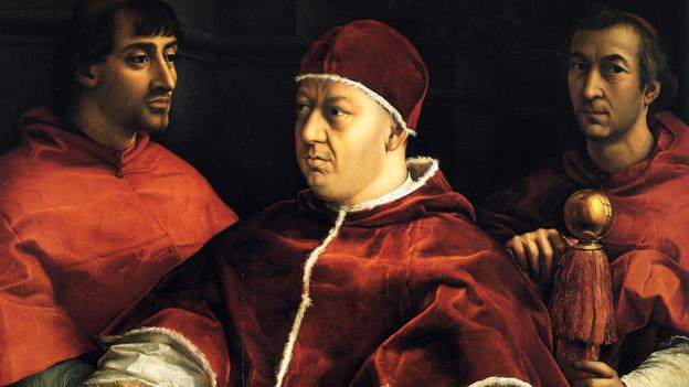 Porträt des Papstes Leo X. mit den Kardinälen Giulio de Medici und Luigi de Rossi.