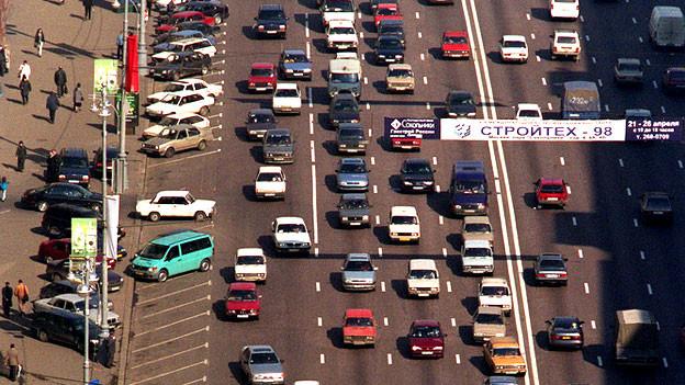 Moskau 1998: Rushhour auf der Tverskaya, ehemals Gorkistrasse.