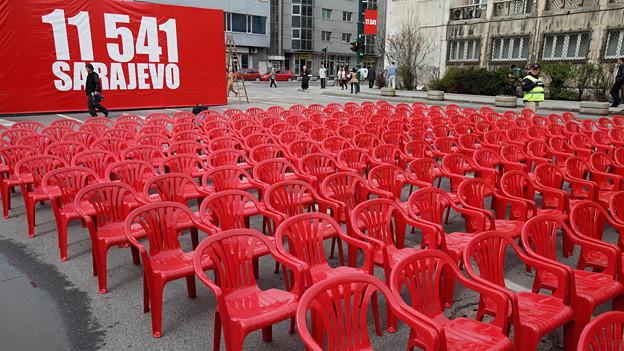 Gedenken an die Kriegsopfer in Sarajewo.