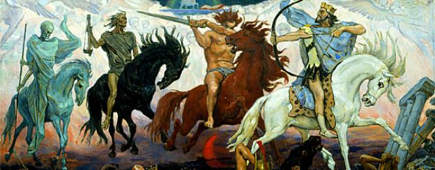 Die vier Reiter der Apokalypse aus der Johannes-Offenbarung, gemalt von Viktor Vasnetsov, 1887.