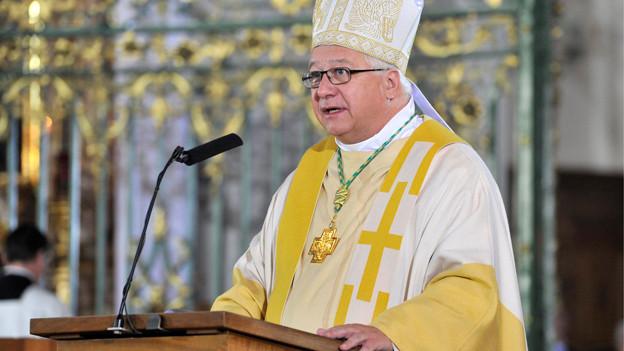 Bischof Markus Büchel hält die Predigt bei der Messe der Nationen im September 2012 in der Kathedrale in St. Gallen.