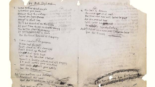 Der handgeschriebene Text zum Song «The Times they are A-Changin'».