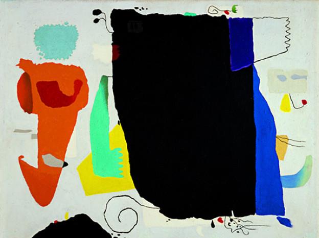 Willi Baumeister: Phantom mit roter Figur, 1953, Ölfarben mit Kunstharz auf Hartfaserplatte.
