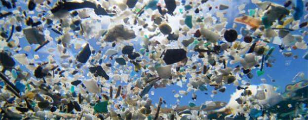 Aus der Ausstellung «Endstation Meer?»: In kleine Stücke aufgebrochene Plastikteile.