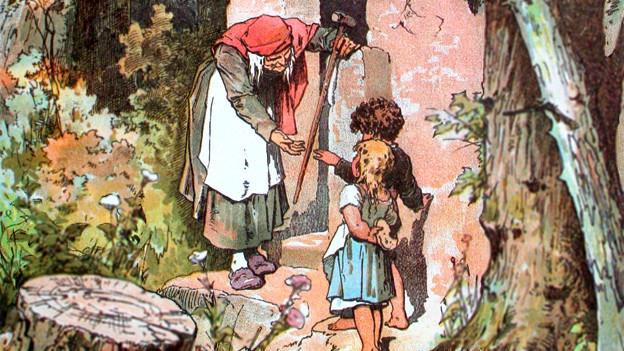 Hänsel and Gretel. Darstellung von Alexander Zick (1845 - 1907).