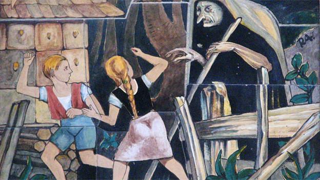 Symbolisch aufgeladen: «Hänsel und Gretel», hier auf gemalten Kacheln an einer Hausmauer in Wien.
