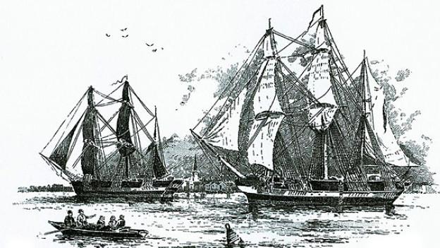 Die John Franklin-Expedition Mitte des 19. Jahrhunderts auf der Suche nach der Nordwestpassage (Illustration, ca. 1845).
