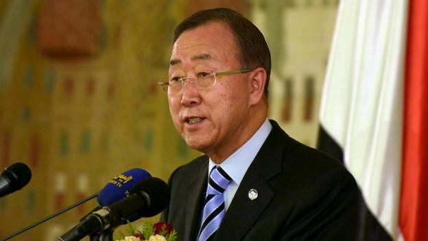 Ban Ki Moon spricht zu Presse