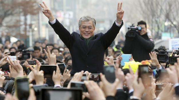 Präsidentschaftskandidat Moon Jae-In im Wahlkampf