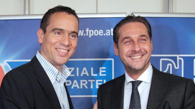 Der ehemalige Parteiobmann der FPK Uwe Scheuch (links) mit Heinz-Christian Strache (FPÖ)