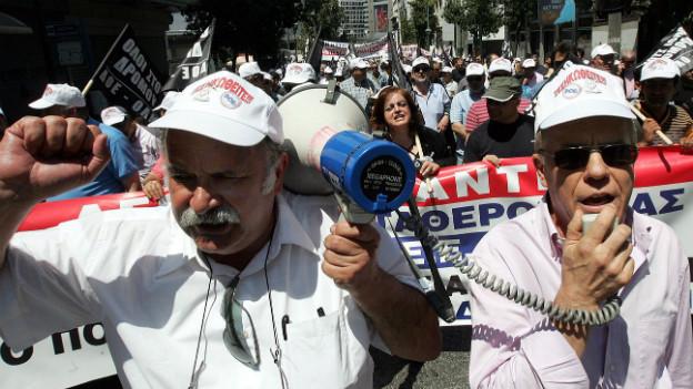 Demonstration von arbeitslosen Lehrern in Athen im Mai 2010.
