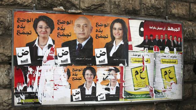Wahlplakat für die anstehenden Parlamentswahlen von nächster Woche.