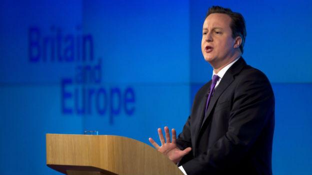 Premierministers David Cameron bei seiner Europarede
