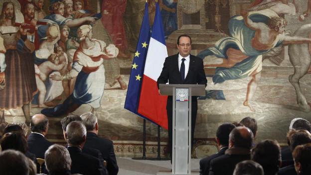 Der französische Präsident Francois Hollande bei einer Ansprache im Pariser Élysée-Palast am 16. Januar 2013.