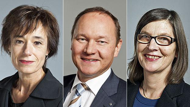 CVP-Nationalrätin Ruth Humbel Näf, SVP Nationalrat Jürg Stahl, SP-Nationalrätin Silvia Schenker