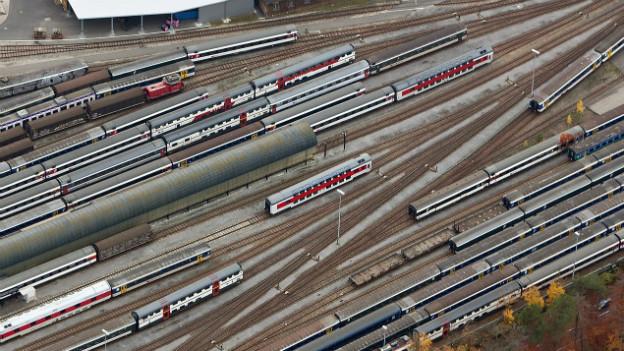 Die FDP will den Viertelstunden-Takt: Gleisfeld vor dem Bahnhof Olten.