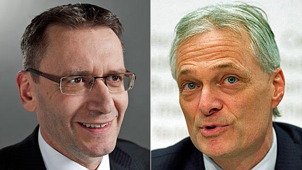 Der Solothurner CVP-Ständerat Pirmin Bischof und Thomas Minder, Schaffhauser Ständerat und Initiant der Abzocker-Initiative, über die am 3. März abgestimmt wird.