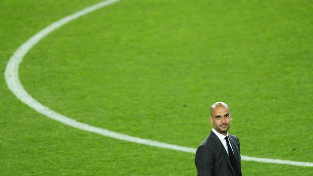 Erfolgstrainer Pep Guardiola im Stadion des FC Barcelona.