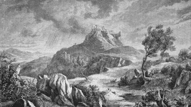 Zeichnung der Burg von Canossa aus dem Jahr 1872.