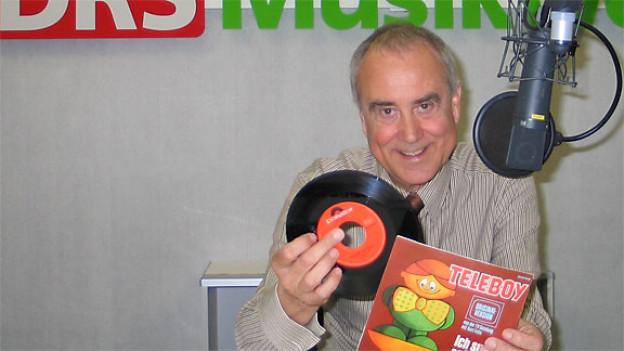 Kurt Felix mit Teleboy Schallplatte.
