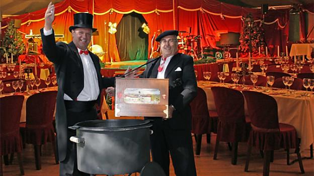 Carlo Brunner und Joschi Closchi begrüssen zum «Lachner Wiehnachtszauber».