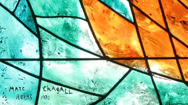 Ausschnitt eines Chagall-Fensters im Zürcher Fraumünster.