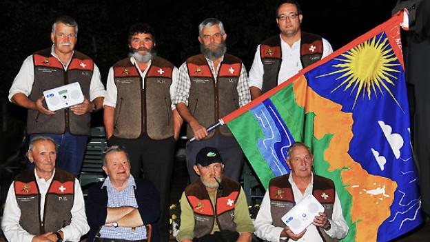 Alois Holdener, Kari Hediger, Martin Holdener, Werner Reichlin (stehend v.l.n.r.), Peter Suter, Martin Horat, Karl Reichmuth, Josef Bürgler (sitzend v.l.n.r.)