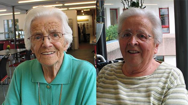 Maria Padrutt und Olga Flatter in der Cafeteria vom Alterszentrum Guggerbach in Davos.