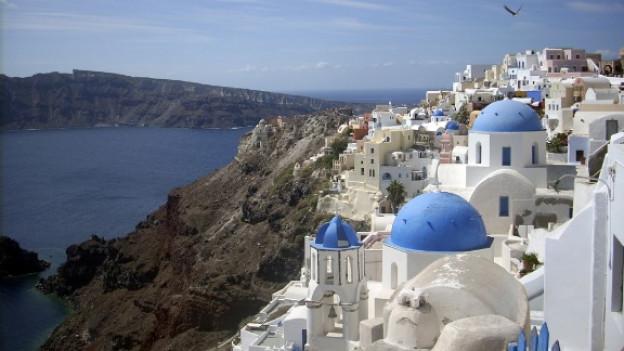 Postkartenmotiv Nummer eins von Griechenland: die Hauptstadt von Santorini, Ia.