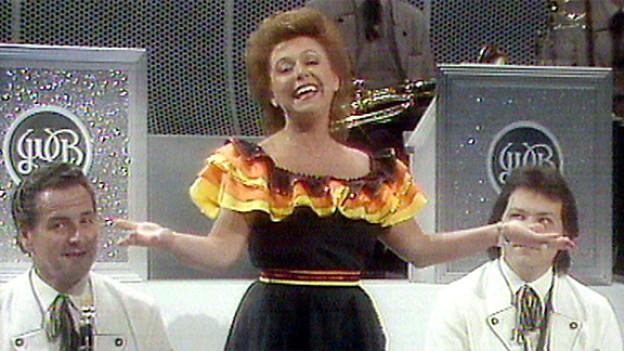 Nella Martinetti gewinnt 1986 den ersten «Grandprix der Volksmusik» mit dem Lied «Bella Musica».