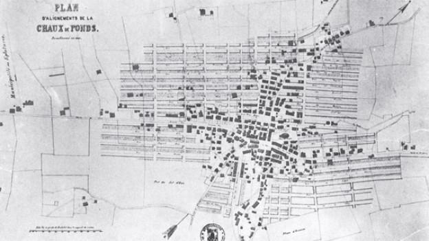 Baulinienplan von La Chaux-de-Fonds, 1841 von Charles-Henri Junod entworfen.