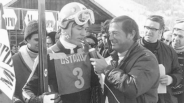 Sepp Renggli interviewt Bernhard Russi 1970 in Gstaad.