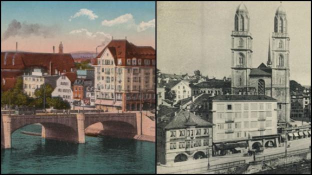 Ausschnitte alter Postkarten von Basel und Zürich.