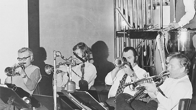 Die Bläsersektion vom Unterhaltungsorchester Beromünster 1970: Fritz Pavlicek, Gerdt Richter, Horst Fischer, Antonio Conde und Gustave Dupuis (v.l.n.r.).