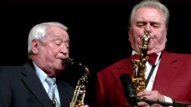Max Greger und Hugo Strasser bei einem gemeinsamen Auftritt.