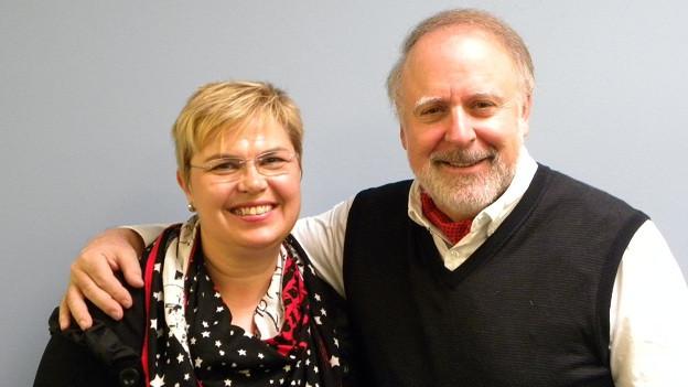Christine Gertschen und Peter Reber im Studio von DRS Musikwelle.