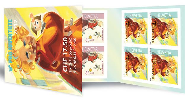 Das Markenbüchlein 2012 der Pro Juventute, mit je vier Marken im Frankaturwert von 100 und 80 Rappen.