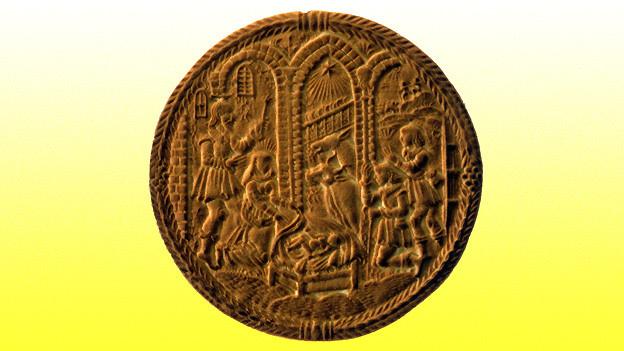 Mit wieviel Hingabe ein Model für einen Tirggel geschnitzt wird, zeigt sich bei diesem wunderbaren Tirggel-Motiv mit Krippenbild.