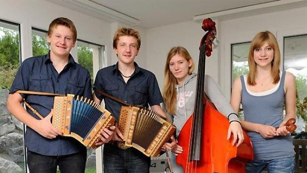 Geschwister Linder aus Wolfhalden AR: Gesamtsieger in der Kategorie Volksmusik beim Folklorenachwuchs-Wettbewerb 2011.