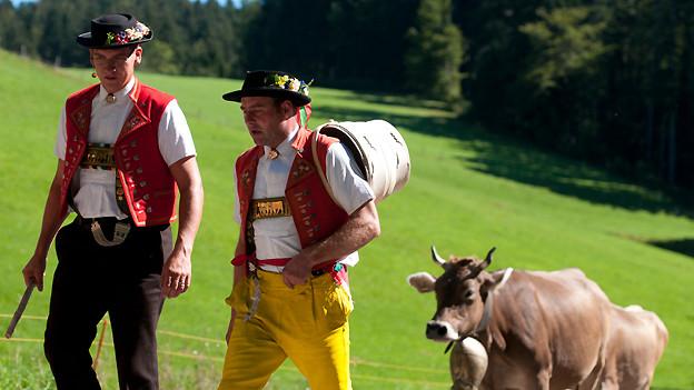 Appenzeller Bauern beim traditionellen Alpabzug.