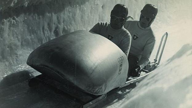 Bobrennen während den Olympischen Spielen 1948 in Sankt Moritz.