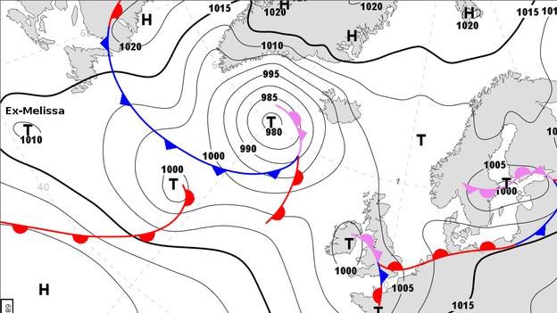 Bodenwetterkarte mit Druckgebieten und Fronten