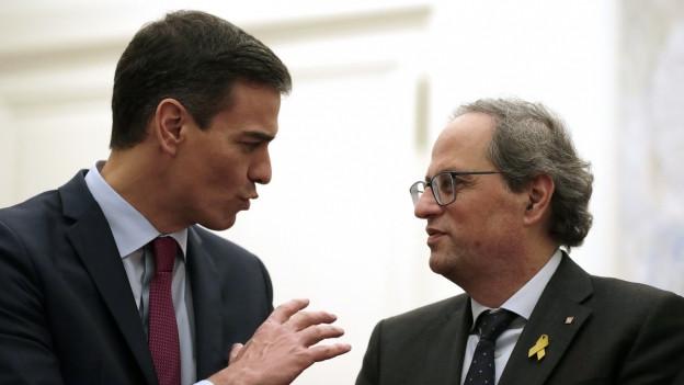 Der spanische Ministerpräsident Pedro Sanchez und der Präsident der Regionalregierung in Katalonien Quim Torra beim gestrigen Treffen.