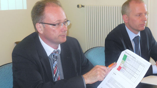 Staatsrat Maurice Ropraz stellt die Strassenstudie vor
