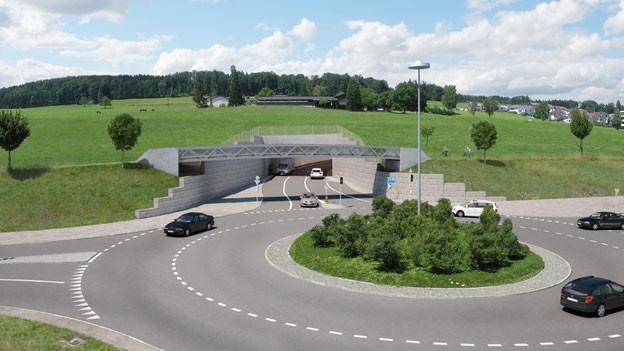 Der Aargauer Grosse Rat bewilligte 78 Millionen Franken für die Umfahrung von Sins (Fotomontage).e).