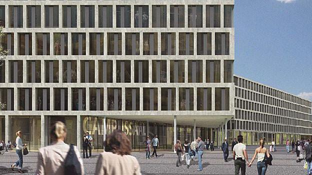 Die Visualisierung des neuen Campus in Brugg-Windisch - der Kultursaal liegt im Erdgeschoss.