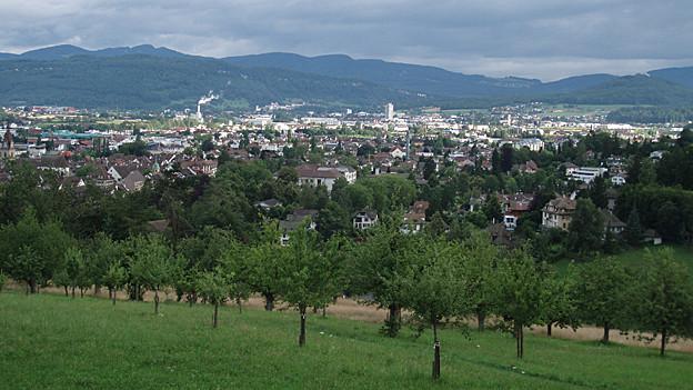 Der Blick vom Zofinger Hausberg «Heitere» auf die Stadt.