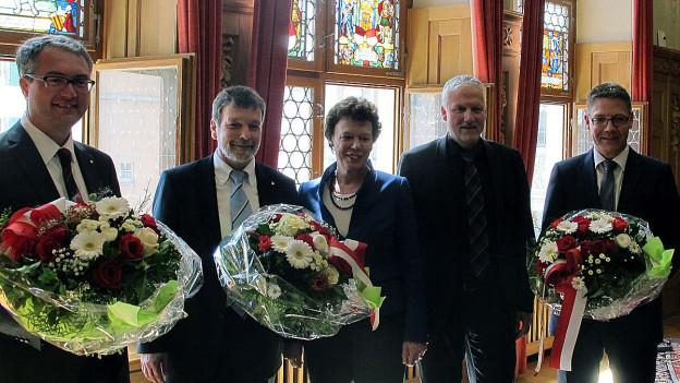 Die neue Solothurner Regierung: Peter Gomm (SP) und Esther Gassler (FDP) wurden bereits im ersten Wahlgang gewählt.