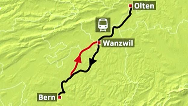 Auf der rot-markierten Neubaustrecke zwischen Olten und Bern wurde eine Weiche beschädigt.